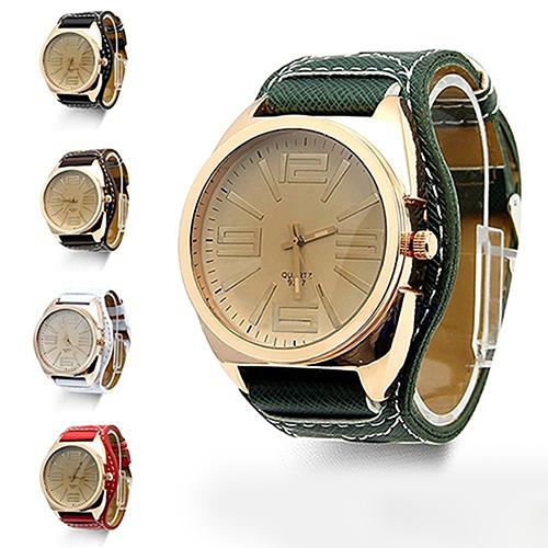 Women's Men's Unisex Fashion Watch Large Round Stainless Steel Dial Faux Leather Strap Couple Quartz Wrist Watch Zegarek Damski