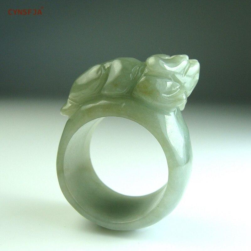 Cynsfja real certificada grau natural um amuleto dos homens jadeíta birmanês riqueza pixiu jade anel esculpido à mão de alta qualidade melhores presentes
