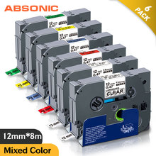 Absonic 6PCS 12mm TZe131 TZe231 TZe431 TZe531 TZe631 TZe731 Lableing สำหรับ Brother P Touch PT D210 PT H110 PT D600 เครื่องพิมพ์