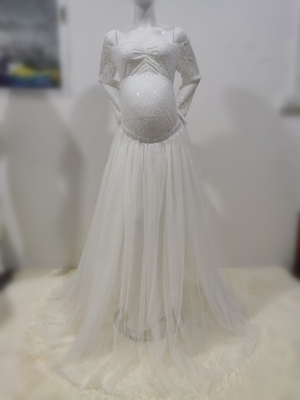 Sexy Lace Maternity Photography Props Long Dress Baby Shower Fancy Pregnancy Dress Photo Shoot For Pregnant Women Mesh Maxi Gown (20)