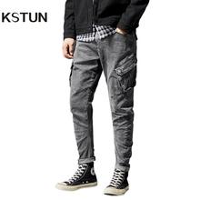 Męskie dżinsy w rozmiarze skinny spodnie stretch dżinsowe spodnie w stylu casual szary Yong chłopców dżinsy boczne kieszenie dla Moto i Biker Chic Hombre Jean tanie tanio KSTUN Zipper fly Stałe Denim NM-6006# Mężczyźni Harem spodnie DARK Szczupła High Street Jeans Midweight Pełnej długości