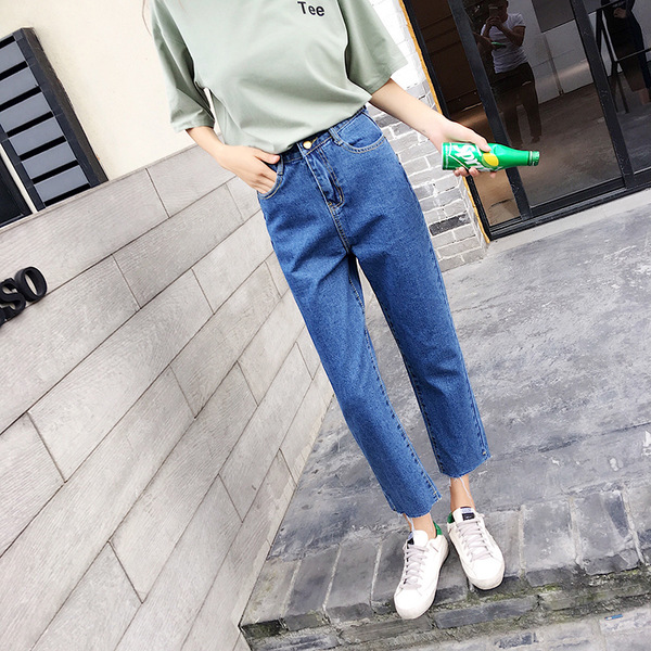 High Waist Jeans Summer Wear For Women 2019 Summer New Style Loose-Fit Raw-cut Ankle-length Straight-Cut Harajuku Loose Pants
