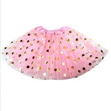 Детская Одежда популярная позолоченная юбка для девочек платье-пачка в Золотой горошек с блестками для фотосессий вечернее платье в складку милое Сетчатое платье