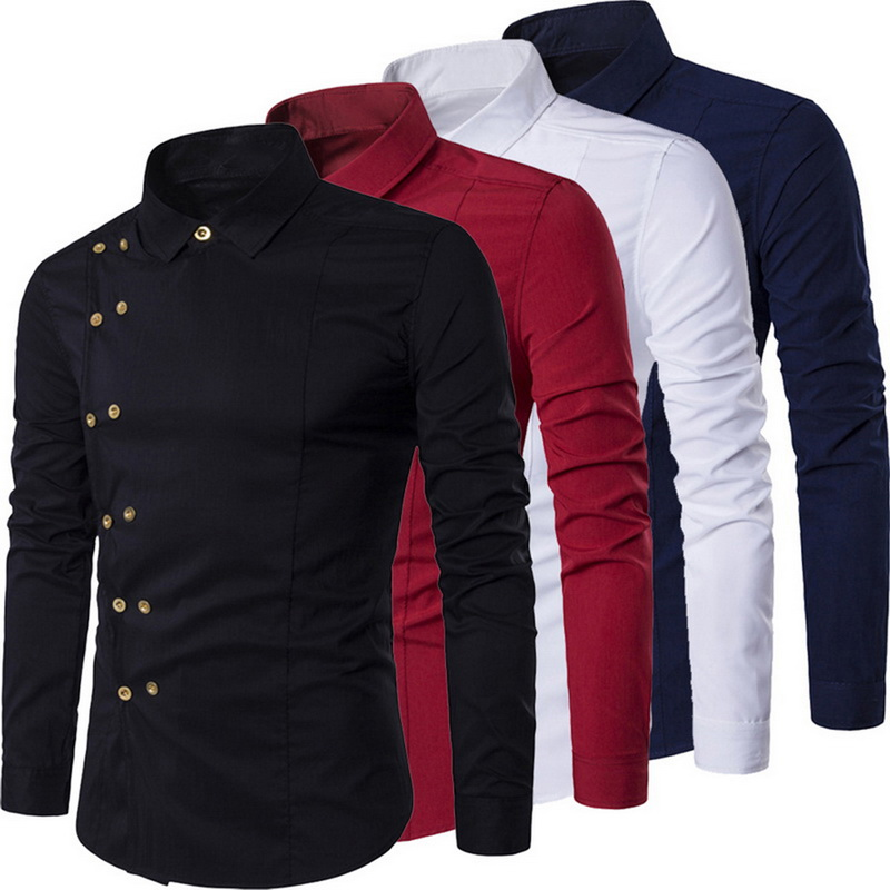 Plus Size 2019 Men Double Breasted Slim Fit Long Sleeve Turn Down Collar Shirt Male Solid Casual Vintage Court Style