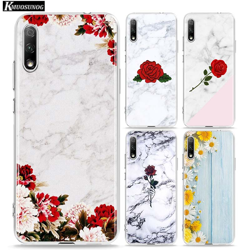 Flowers on marble Clear TPU Cover for Huawei <font><b>Honor</b></font> 10i 9X 8X 20 10 9 Lite 8 8A <font><b>7A</b></font> 7C Pro Lite Phone <font><b>Case</b></font> image