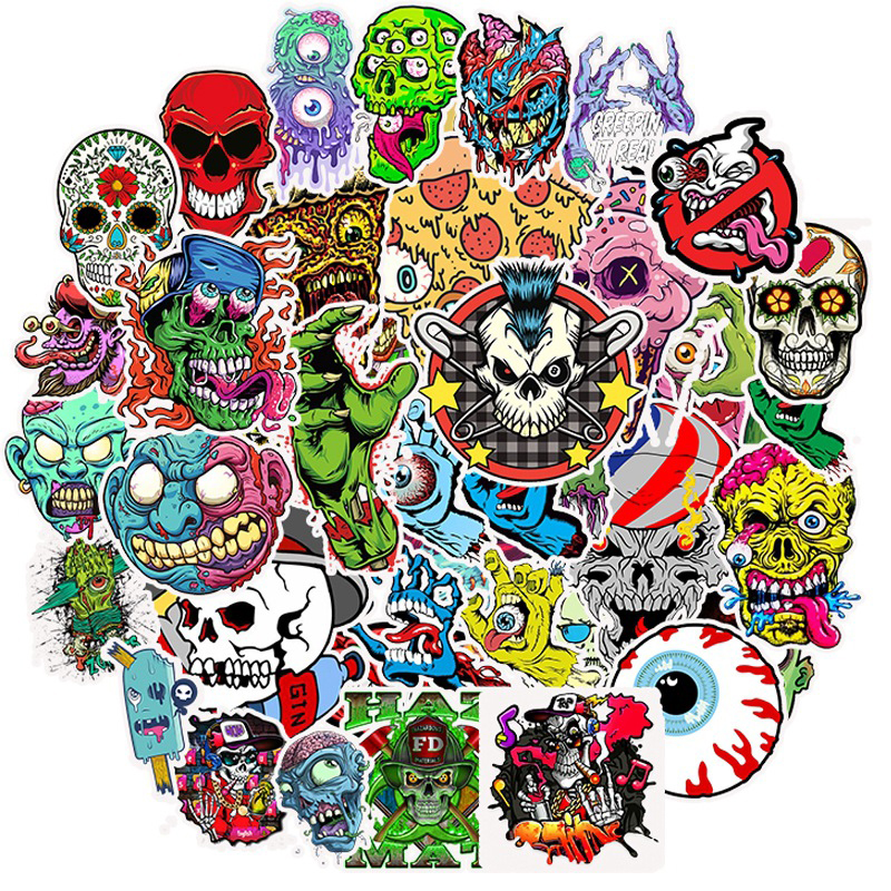 50pcs Terror Graffiti Skeleton Sticker Scrapbooking To DIY Laptop Skateboard Suitcase Decals For For Notebook Computer Sticker