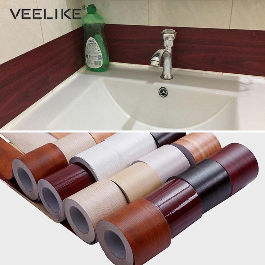 DIY Self-adhesive Baseboard Floor Sticker Wood Style Skirting Line Waterproof Vinyl Waist Line Wallpaper Home Decor Film Decal