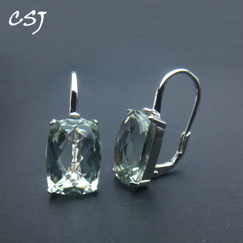 CSJ Elegant Natural Green Amethyst Earring Sterling 925 Silver Cushion 10*14mm 12Ct Fine Jewelry For Women Lady Party Gift Box