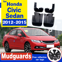 For Honda Civic Sedan 2012-2015 Mudflaps Splash Guards Front Rear Mud Flap Mudguards Fender 2013 2014 Set Molded Mud Flaps set molded mud flaps for honda fit jazz 2014 2017 mudflaps splash guards front rear mud flap mudguards fender 2015 2016
