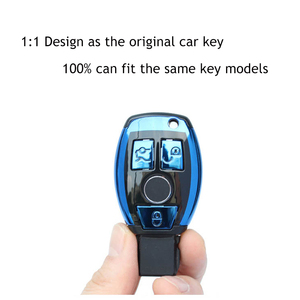 Image 2 - ABS Auto New Car Styling Remote Key Shell Key Case Cover With Keyring Key chain Buckle For Mercedes Benz C Class W205 GLC GLA