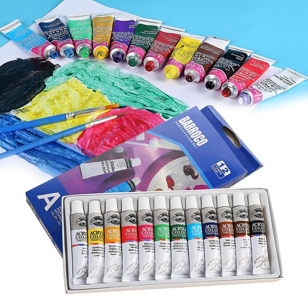 6 ML 12 Colors Professional Acrylic Paint Watercolor Set Hand Wall Painting Brush