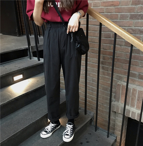 Button Elastic Waist Straight Casual Pants Pants