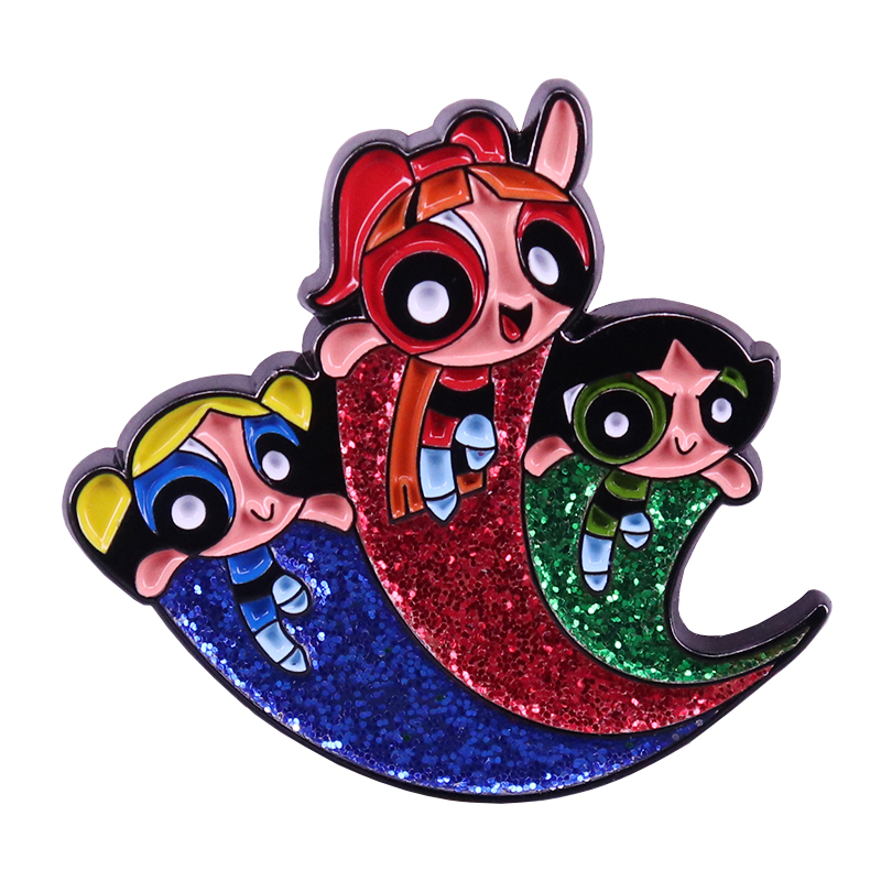 Powerpuff Girls Brooch Blossom Bubbles and Buttercup Three Superpowered Sisters Lapel Pins Save the World Pins