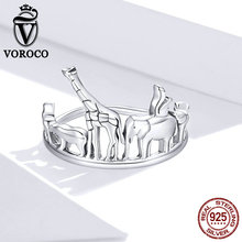 VOROCO 925 Sterling Silver Fine Jewelry Trendy Engagement Zootopia Fashion Bague Femme for Women Luxury Wedding Rings Jewelry moonso a pair luxury genuine 925 sterling silver rings for women wedding engagement jewelry lr236s