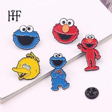 Lucu Sesame Street Lencana Elmo Cookie Monster Logam Anime Kartun Broochs Lapel Pin Pria Enamel Bros Cosplay Koleksi Hadiah(China)