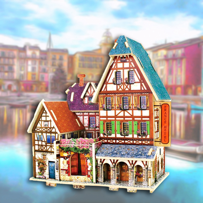 Wooden 3D Hand DIY Stereo Jigsaw Puzzle Puzzle Board Children Puzzle Toy House Assembled Model Wood DIY Manual Hotels