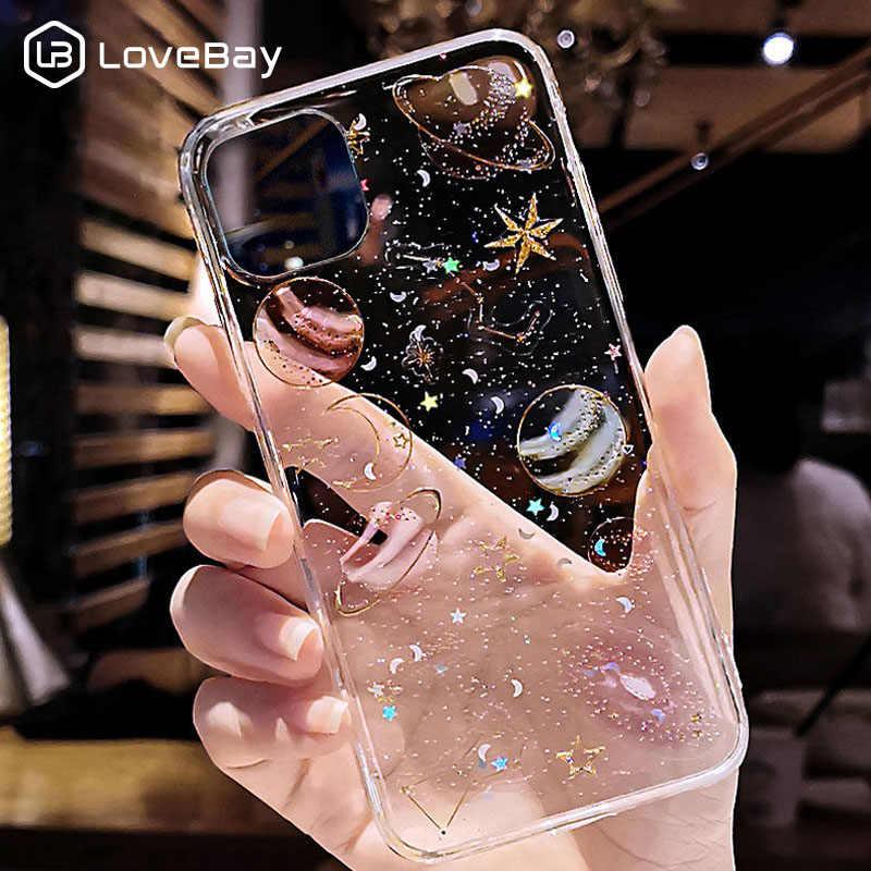 Lovebay di Scintillio di Bling Stelle Luna Per il Caso di iPhone 11 Pro X XR XS Max 7 8 6 6s Plus chiaro Pianeta Custodie Molle di TPU Della Copertura Posteriore Del Telefono