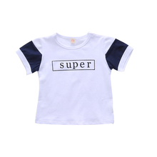 Infant Boy Shirt Toddler Short Sleeve White T-shirt Super Printed Children Tees Baby Tops