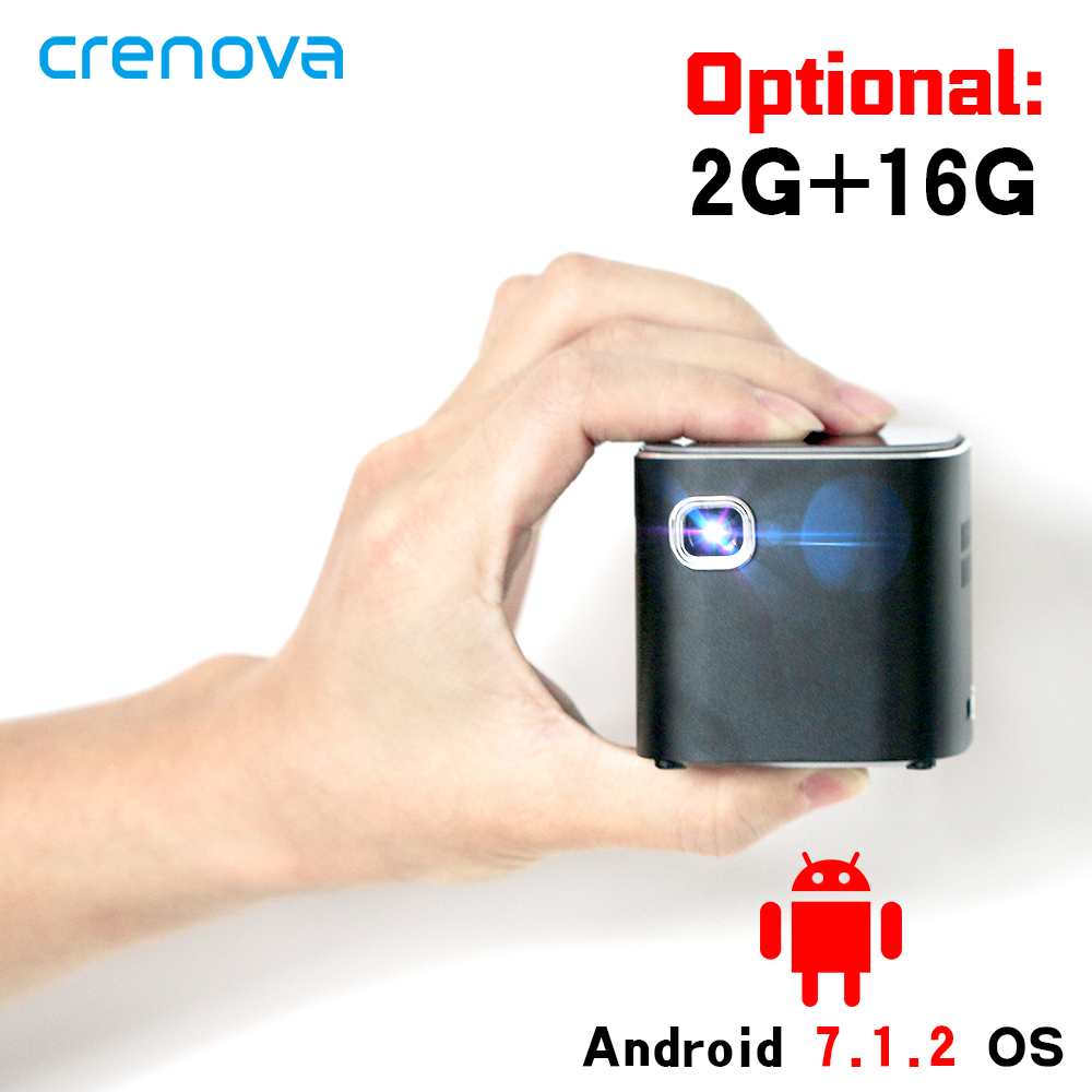 CRENOVA Newest DLP Projector Android 7.1.2OS Wifi Bluetooth For Full HD 1080P Home Theater Movie Mini Portable Projector Beamer 1