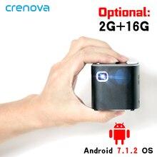 CRENOVA najnowszy projektor DLP Android 7.1.2OS Wifi Bluetooth do kina domowego Full HD 1080P przenośny Mini projektor Beamer