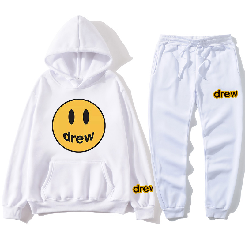 Men Clothes Tracksuit Men Sets Fashion Justin Bieber The Drew House Smile Face Print Men/Women Sportswear Suit Tracksuit Women