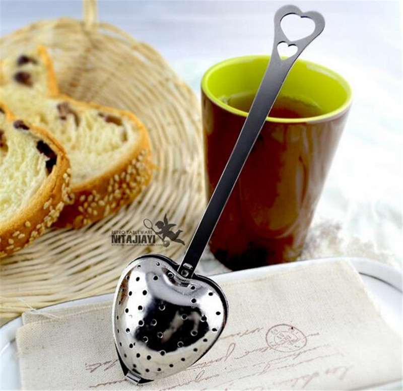 1pcs New Heart Shaped Filter Tea Balls Stainless Steel Tea Strainers Oblique Tea Stick Tube Tea Infuser Steeper H-48