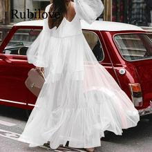 Rubilove White Dress Women 2019 Autumn Sexy V-Neck Lantern Long Sleeve High Waist Maxi Party Dresses Vestido