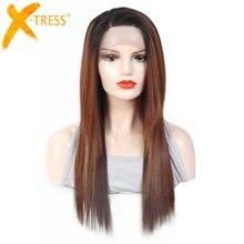 الشعر الاصطناعية الدانتيل الجبهة الباروكات للنساء السود أومبير براون اللون X TRESS 22 بوصة طويلة لينة مستقيم الطبقات الدانتيل الباروكة جزء الحرة