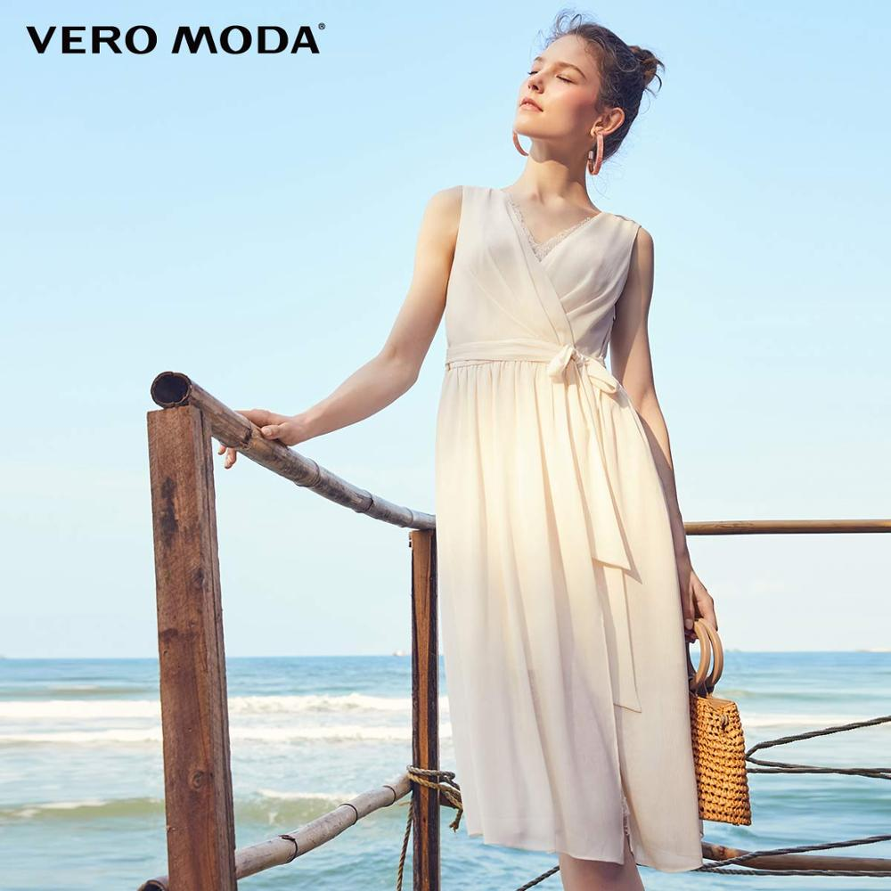 Vero Moda Women's Sleeveless Laced V-neckline High-rise Side Zip Party Dress | 31927A527