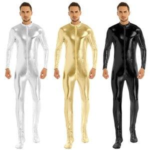 Image 2 - Iiniim męskie ciało Sexy miś błyszczące metalowe klub Bodystocking zamknięte Toe rozciągliwe całe ciało trykot Body Clubwear kostiumy