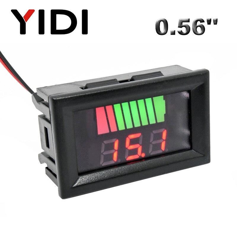 0.56'' LCD Digital Voltmeter 12V 24V 72V 84V Battery Capacity Indicator Lead Acid Power Car Motorcycle Voltage Tester Detector