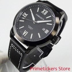 41mm pokrowiec z powłoką PVD szafirowe szkło data automatyczny męski zegarek luminous czarna tarcza cyframi rzymskimi
