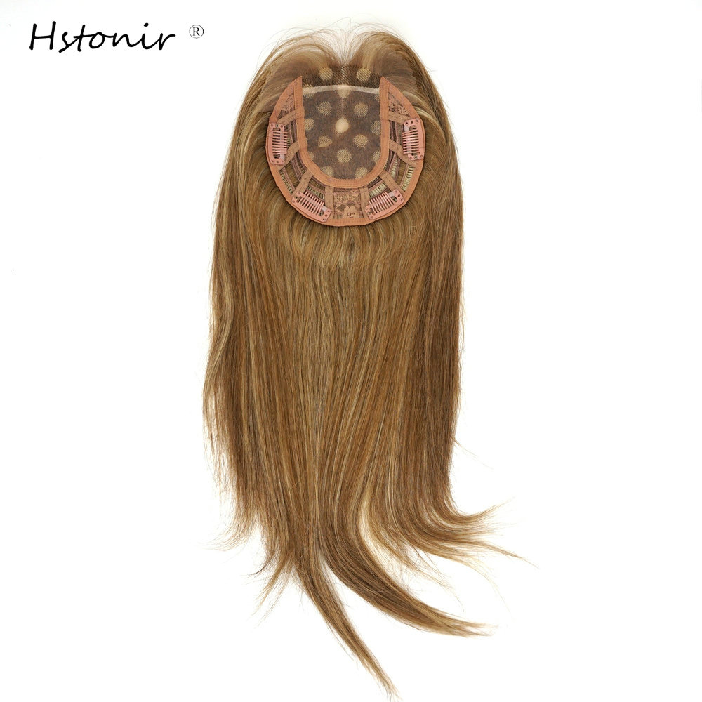 Hstonir 6/8/613# Hair Toppers For Women Mono Wig Rubio Clip Natural Hair Clips Human European Remy Hair Tops For Women TP34