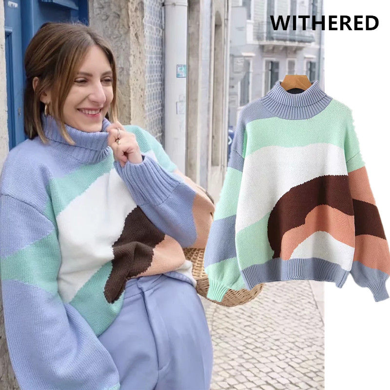 Withered BTS Sweater Women Ins Vintage Fashion Blogger Thick Turtleneck Color Block Patchwork Overisze Vintage Pullovers Sweater