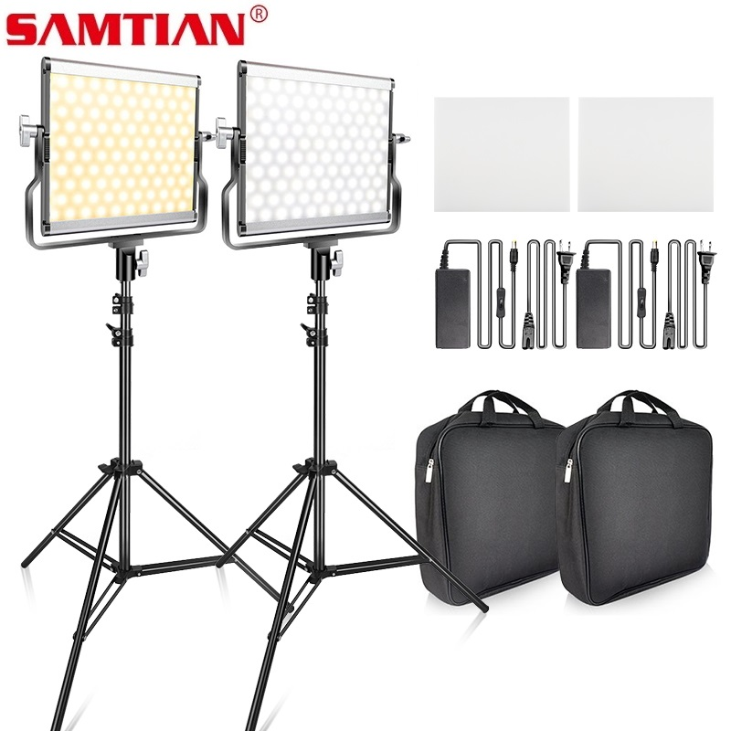 SAMTIAN video light <font><b>L4500</b></font> 2 set photography light with tripod dimmble panel light for studio photography LED lighting YouTube image