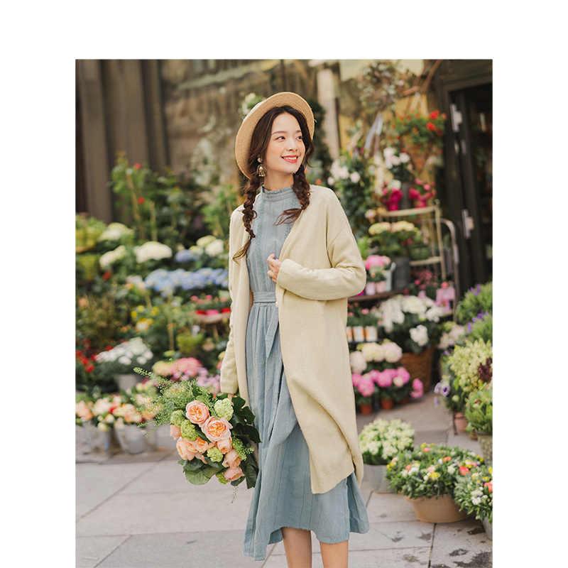 INMAN 2019 otoño nueva llegada minimalismo Ribbing profundo cuello en V elegante sólido manga larga mujeres medio largo Cardigan