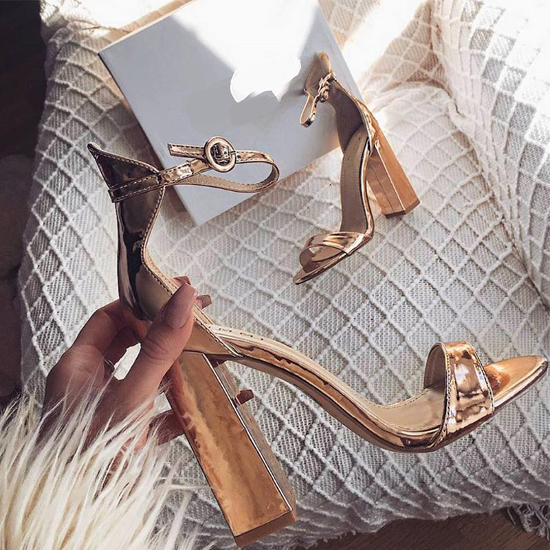 Gold Buckle Strap Hoof Sandals