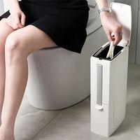 Plastic Trash Can Set with Brush For Bathroom Toilet Waste Bin Dustbin Trash Cans Garbage Bucket Garbage Bag Dispenser