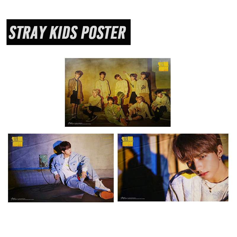 30*45cm Fashion Kpop Stray Kids Poster High Quality HD Picture Printed On Fabric Waterproof Yellow Wood Album Stray Kids Poster