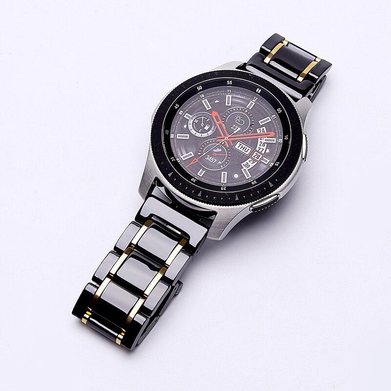 20mm 22mmKeramik-UhrenarmbandFür Samsung Galaxy 42/46 aktivArmband Gear s2 s3ErsatzriemenUhrenarmbandButterfly-Schnalle