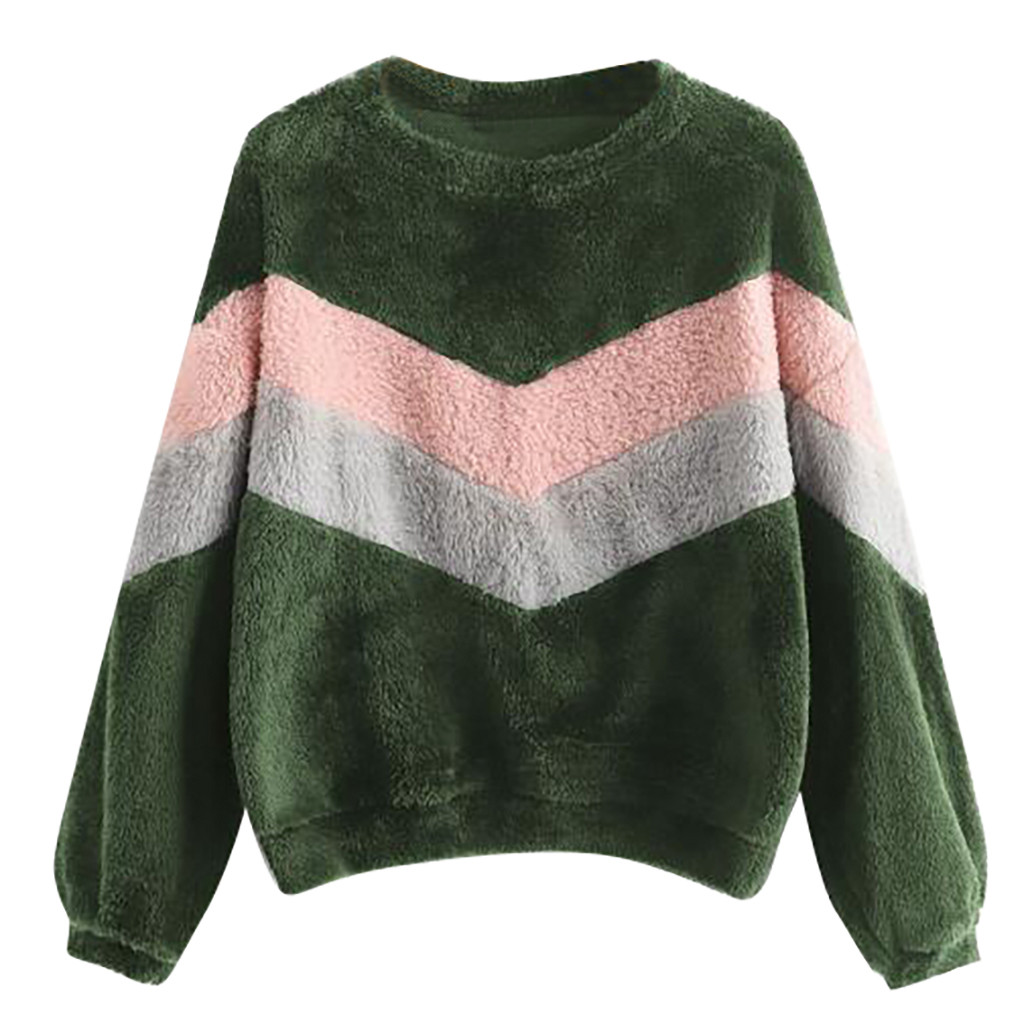 JAYCOSIN Fashion Women Patchwork O-Neck Sweatshirt Casual Simple Long Sleeve Comfortable Soft Hairy Sweatershirt Tops