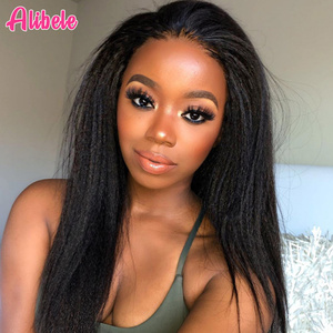 Alibele Brazilian Kinky Straight Lace Front Wigs With Baby Hair 13x4 Pre Plucked Yaki Straight Lace Front Human Hair Wig 10-26in(China)