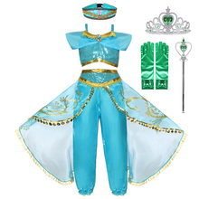 Little Girls Clothes Kids Cosplay Jasmine Princess Fancy Costume Children's Halloween Carnival Birthday Party Daughter's Gift women girls superhero alien starfire teen titans go outfit cosplay halloween costume princess koriand r suit xmas birthday gift