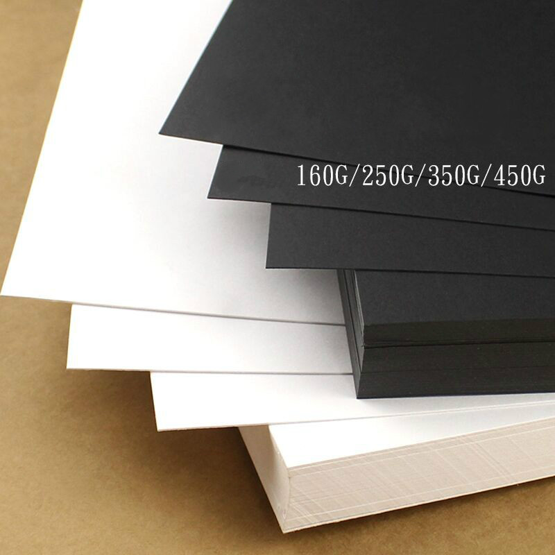 A3 A4 Black Paper Cards Thick White Cardboard Watercolor Sketching DIY Craft Business Card Making Printing Cardboard 80g-450g