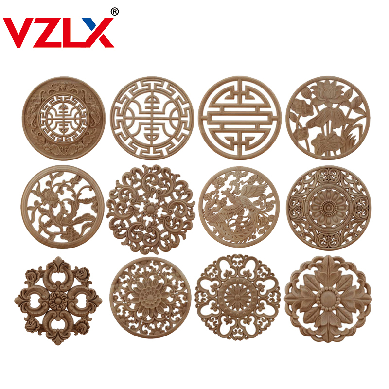 VZLX Round Wood Carving Woodcarving Wood Decal Carving Lines Wood Applique Rose Rubber Home Decoration Accessories Cabinet Hot