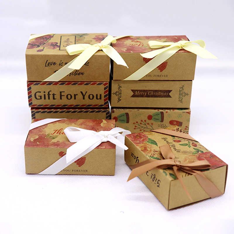 5pcs ต่อ Lot Multi ออกแบบ Merry คริสต์มาสของขวัญแพคเกจกล่องสไลด์ VINTAGE kraft DIY Handmade ขอบคุณ Candy/ งานแต่งงานโปรดปรานกล่อง