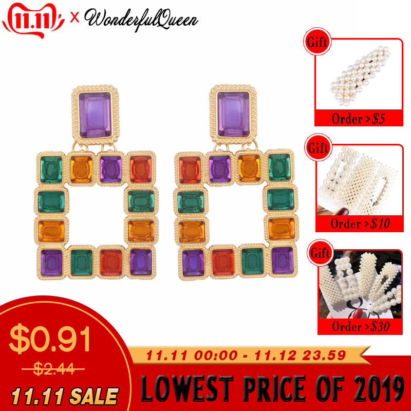 Colorful Luxury Crystal Drop Earrings Glass Rhinestone Dangle Earring Trendy Fashion Jewelry New