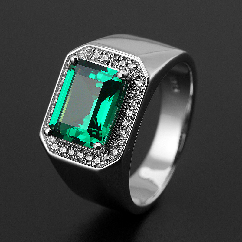 High Quality Vintage Unique Sapphire Beryl With Cubic Zirconia 925 Sterling Silver Ring For Woman Men Fine Jewelry Gift