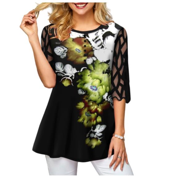 Shirt Blouse Plus Size 5xl Solid Black Tops O-neck Splice Mesh Lace Half Sleeve Spring Summer Casual Loose Women Shirt