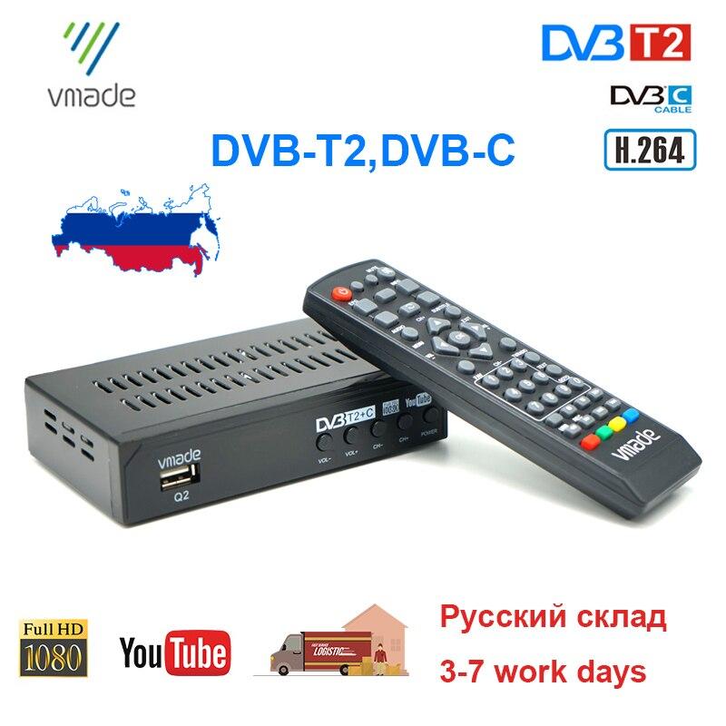 Россия Горячая DVB T2 DVB-C ТВ-тюнер цифровой наземный ТВ приемник H.264 HD ТВ Декодер MPEG4 поддержка Youtube 2020 Новый телеприставка